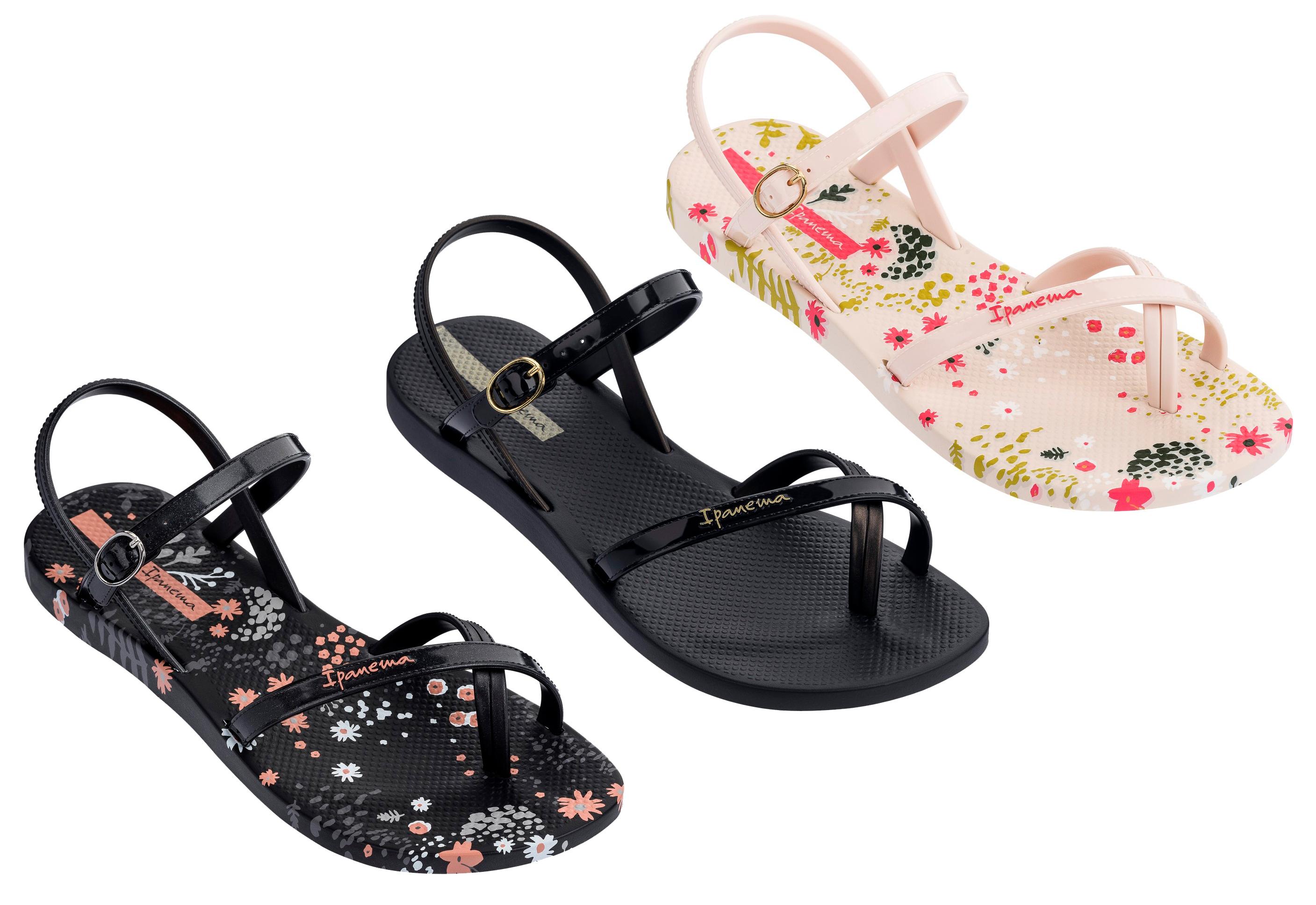 Ipanema Ladies Fashion Sandal 21 Black Flower
