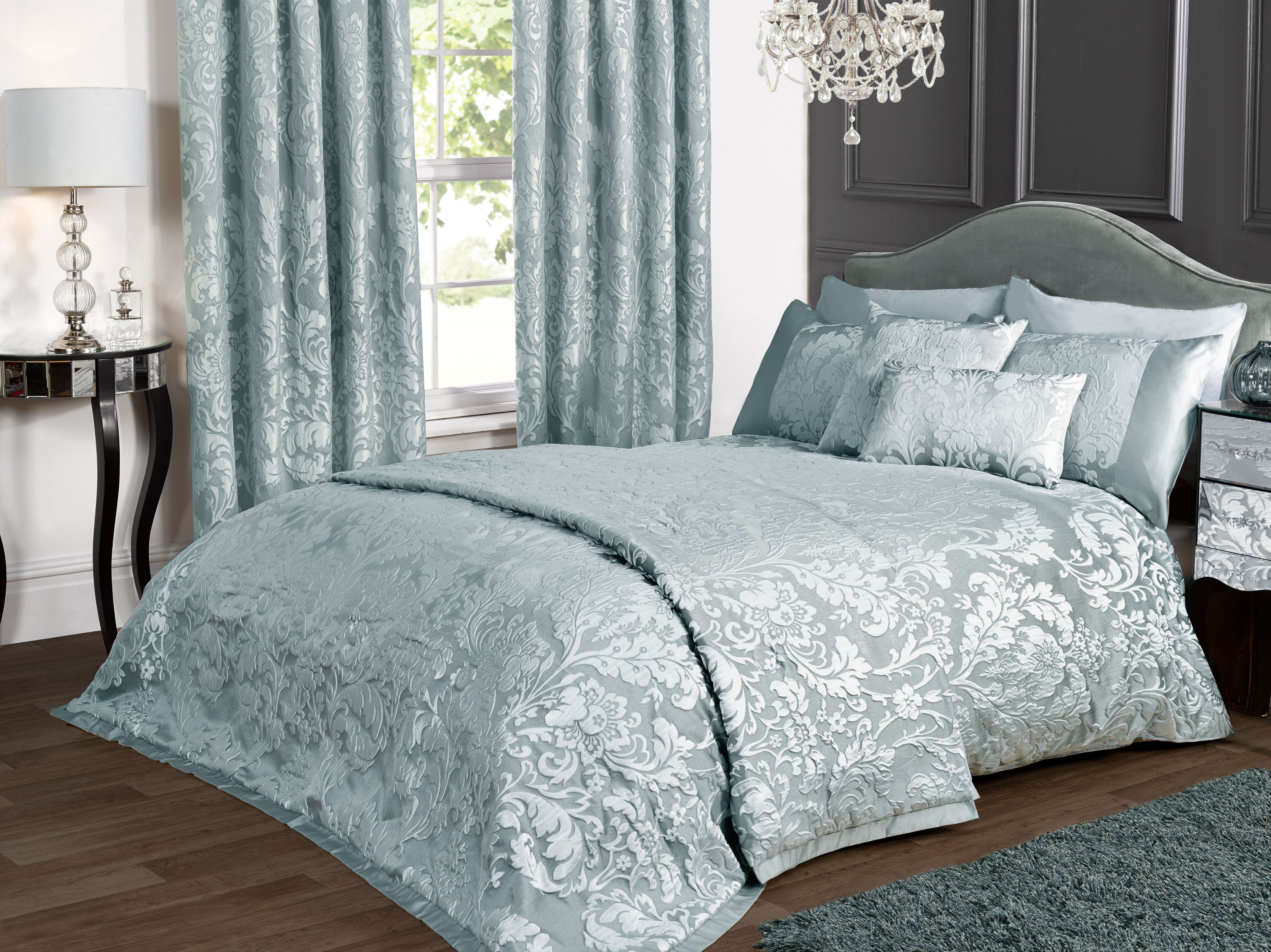 charleston duck egg blue jacquard bed linen collection items sold separately ebay. Black Bedroom Furniture Sets. Home Design Ideas