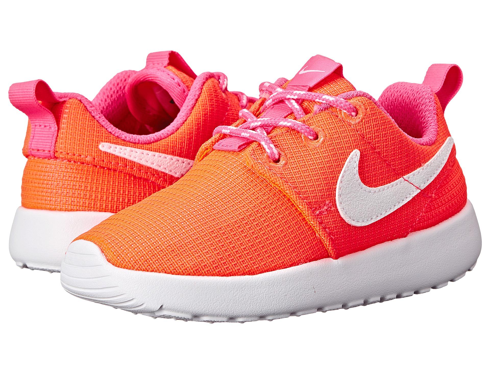 Nike Rosherun Trainers Lava Glow White Pink Girls Kids