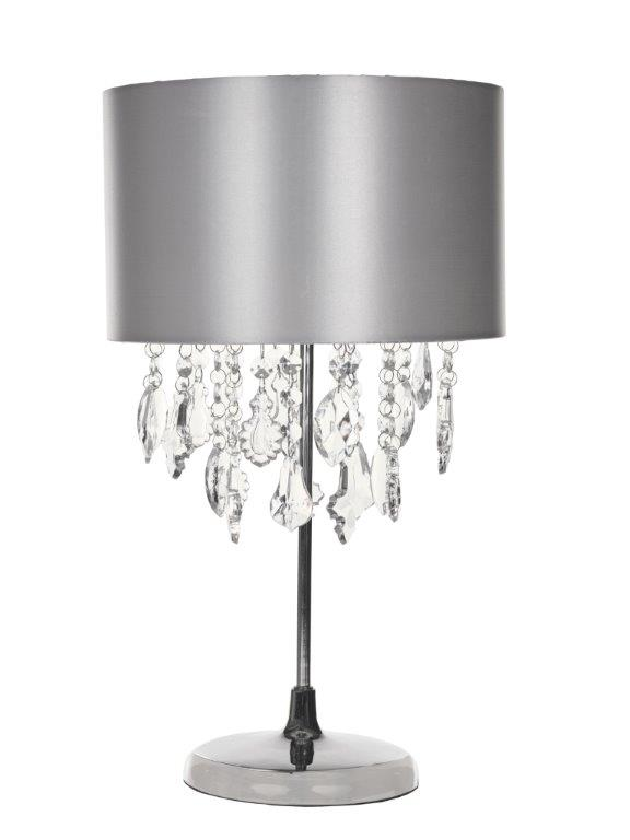 Kliving Sheldon Chrome Table Lamp with Beaded Acrylic Droplets ...