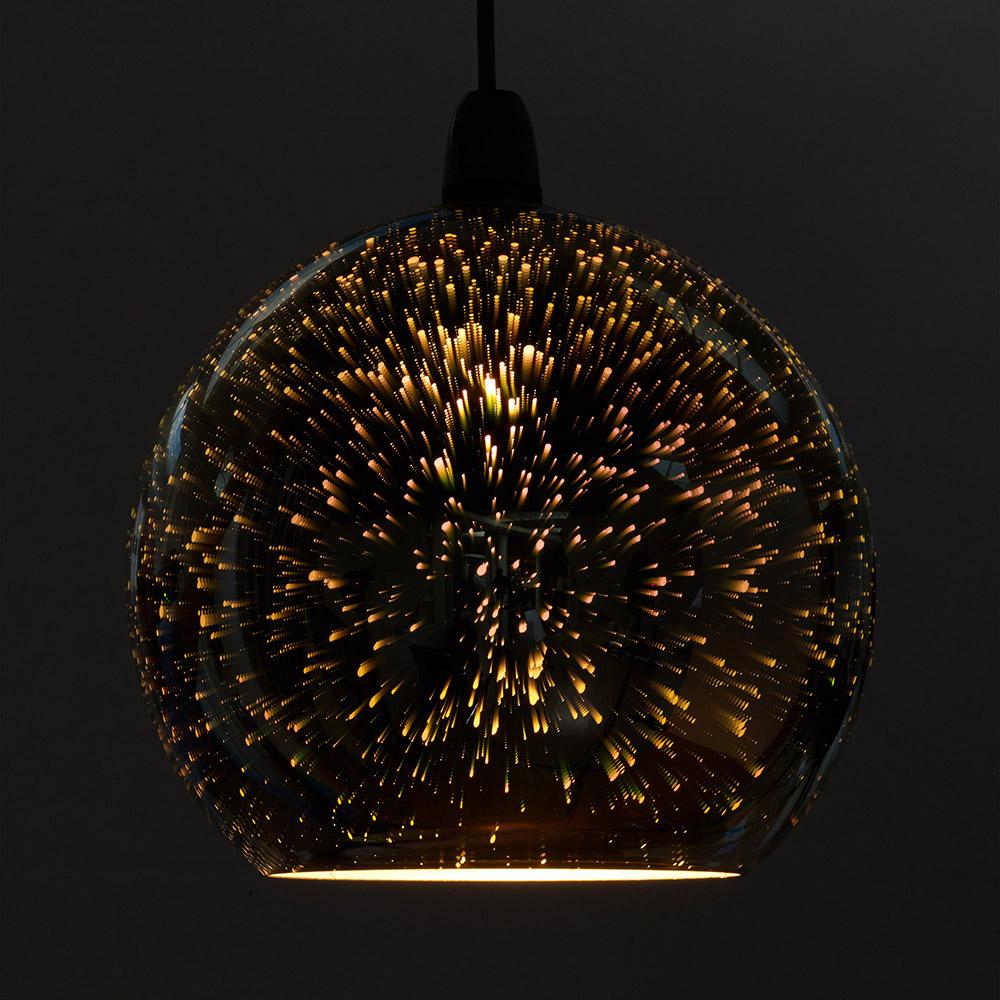 Zodiac Firework Effect Silver Ball Chrome Glass Ceiling