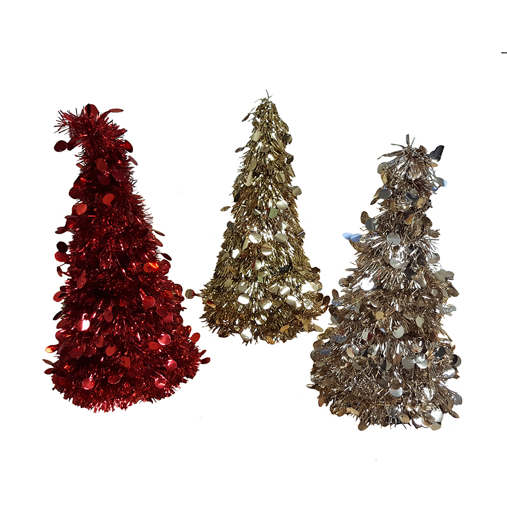 small festive tinsel christmas tree decoration red champagne and gold 26cm tall