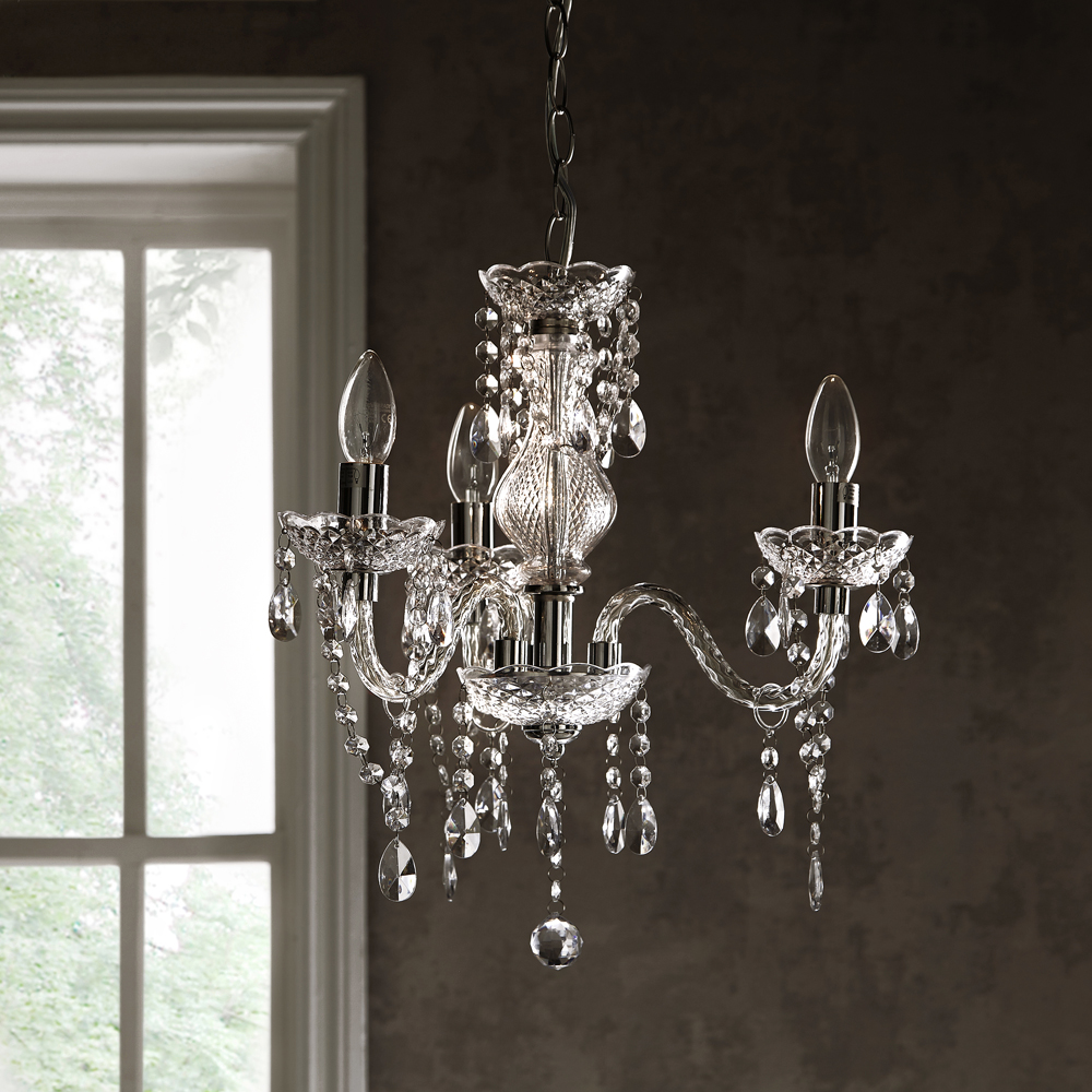 Bedroom Dining Room Hallway Tuscany Elegant Chandelier Ceiling Light Acrylic Crystal Droplets With 3 Lights Ideal