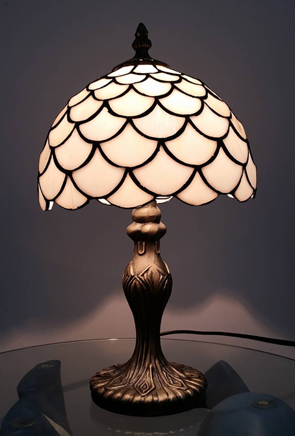 8 Inch Tiffany Antique Brass Lamp Modern Home Bedside Tables With Glass Shade Ebay