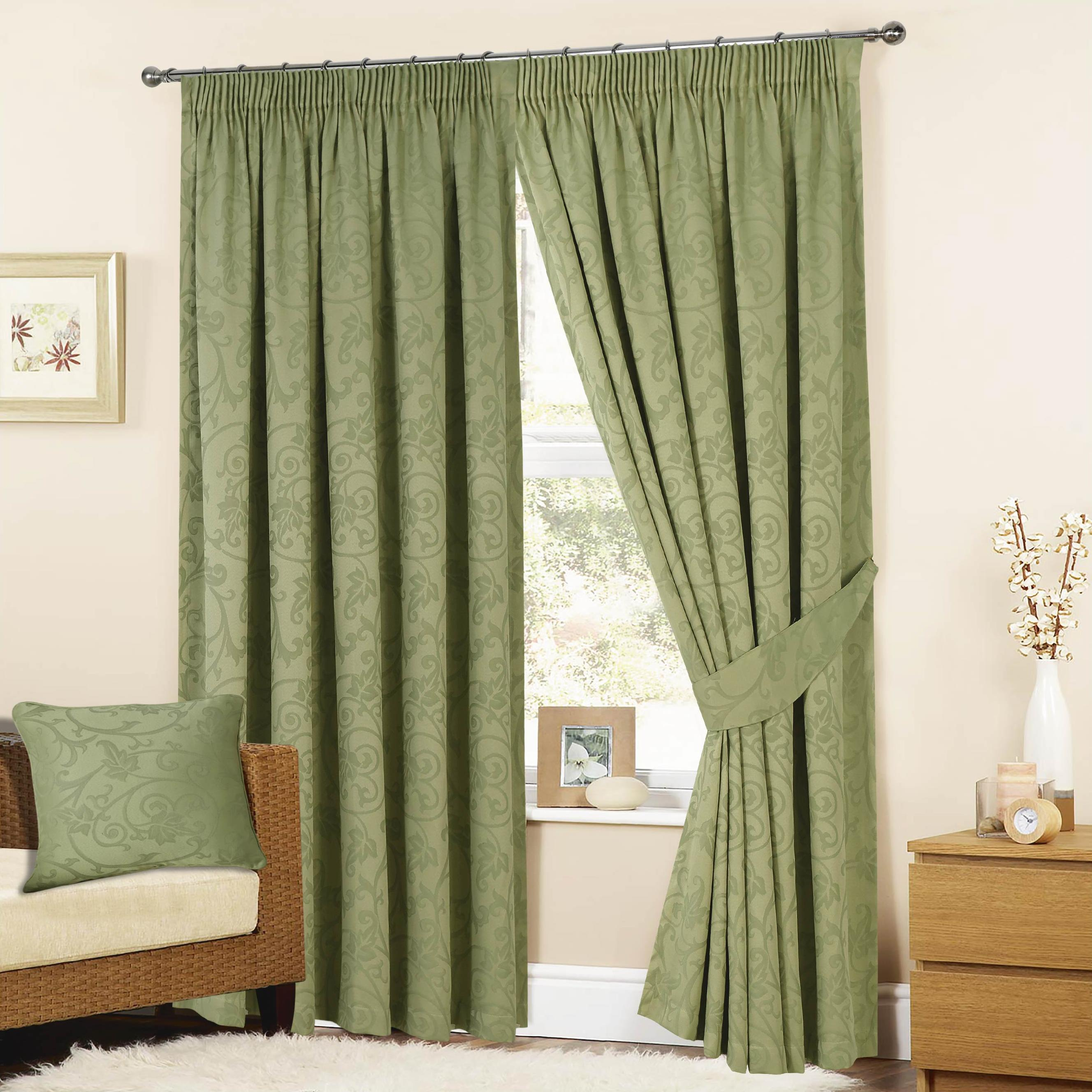 Turin Jacquard Lined Pencil Pleat Curtains Sage Green (tie