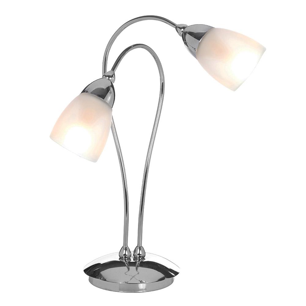 Modern Cygnus Silver Arched Chrome 2 Light Table Lamp