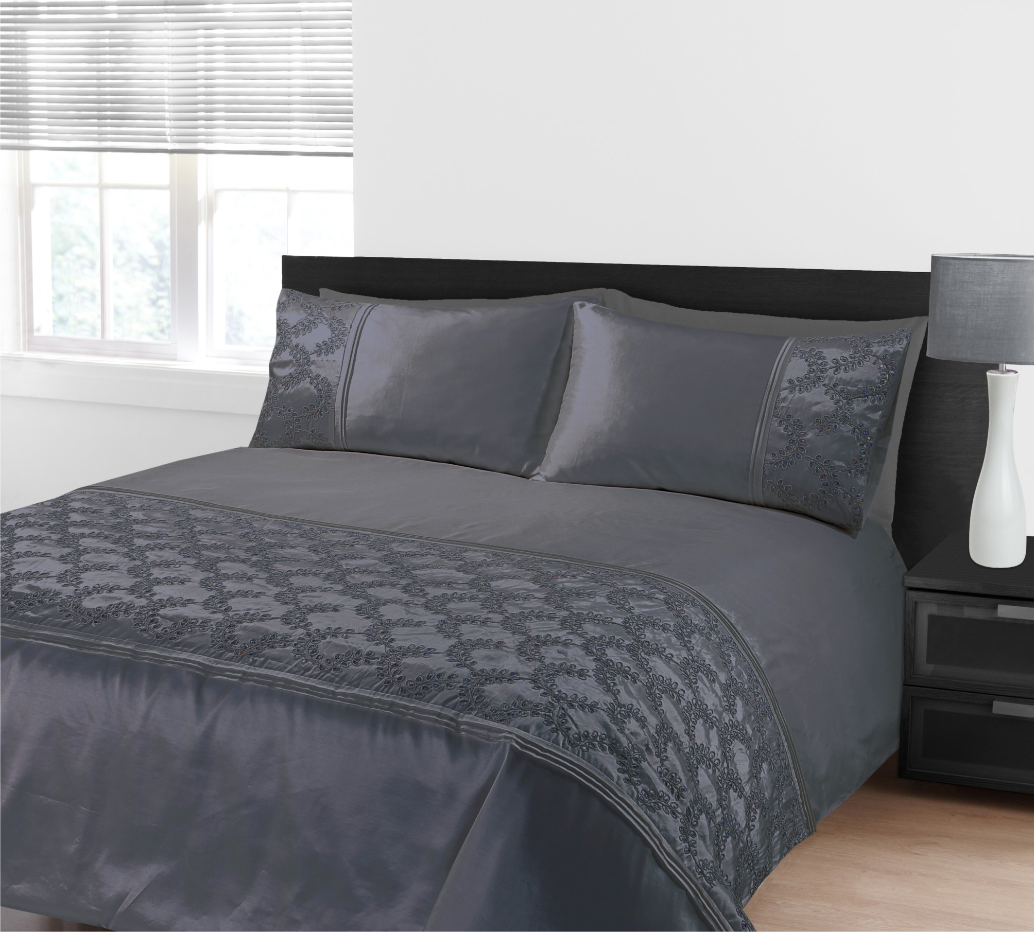 Zara Classic Grey Embroidered Sequins Duvet Cover Bedding
