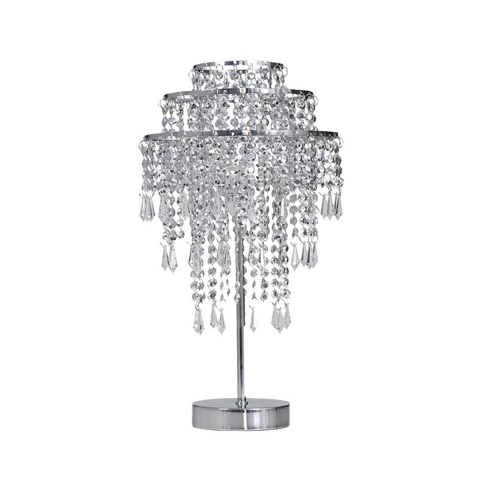 Chrome Beaded Silver Chandelier Table Lamp 3 Tier Hanging