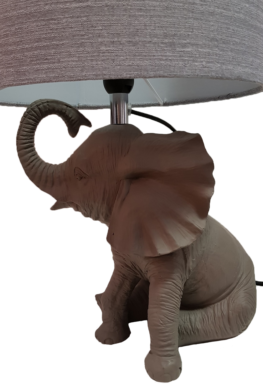 Table Lamp Grey Resin Elephant Animal Shape With Fabric