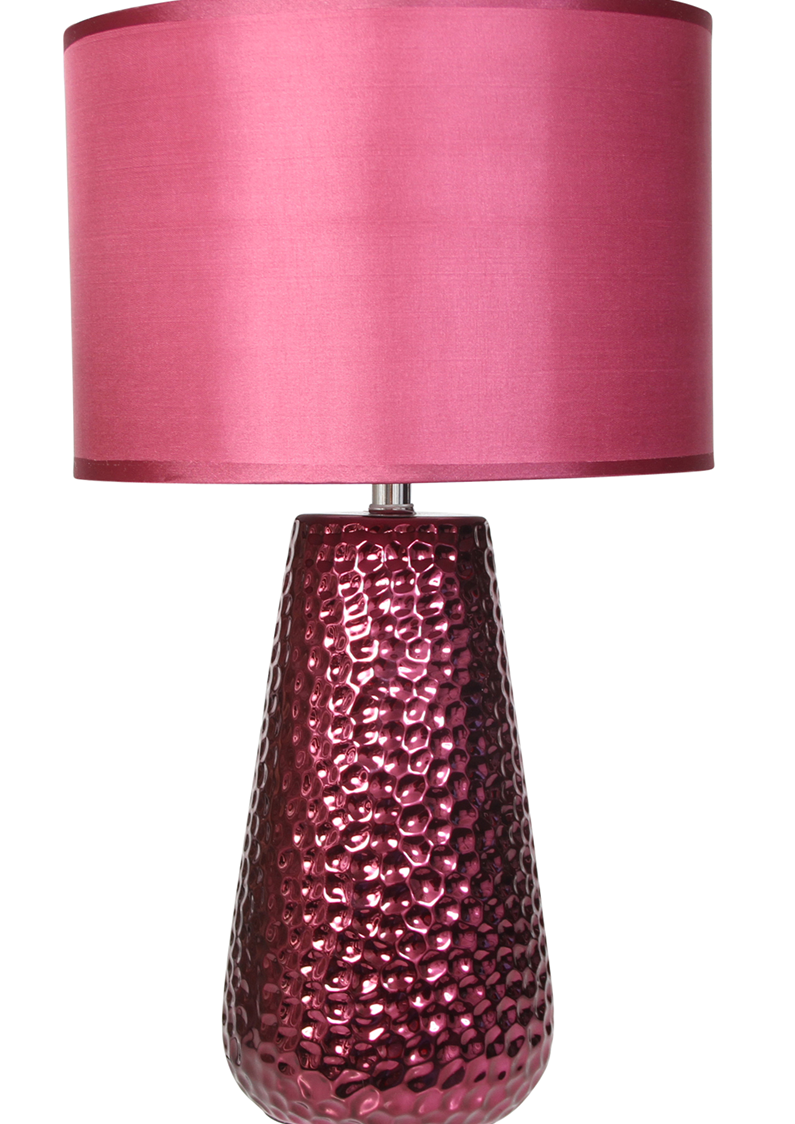 Pink Lamp Shade : Kliving hutton shiny ceramic table lamp with drum shade