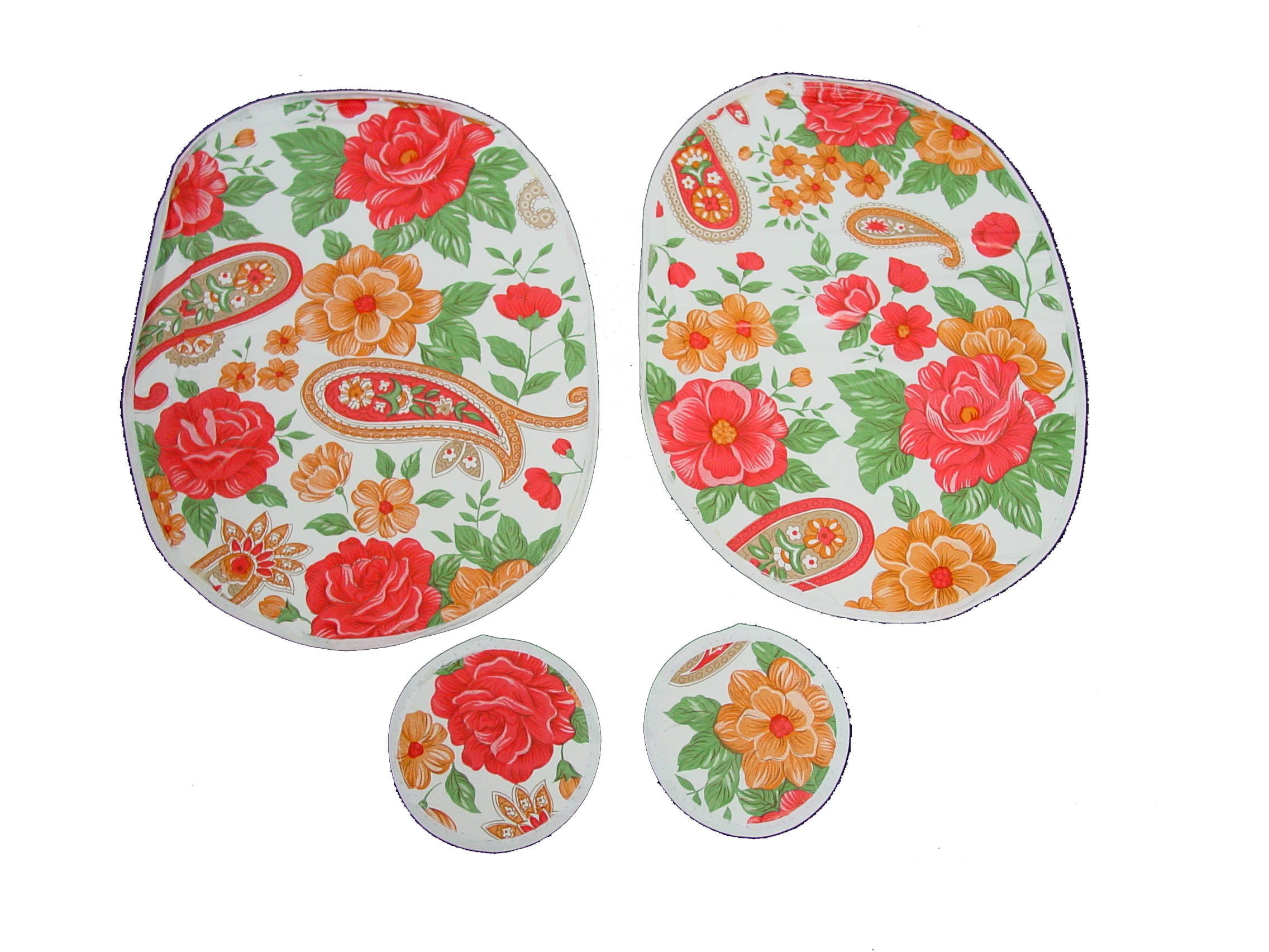 4 Piece Retro Floral Printed Table Set Consists Of 2 Table