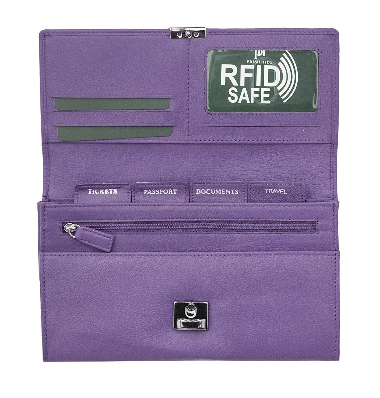 Homme-Femme-en-cuir-RFID-blocking-Travel-Planner-Wallet-Purse-Porte-passeport miniature 7