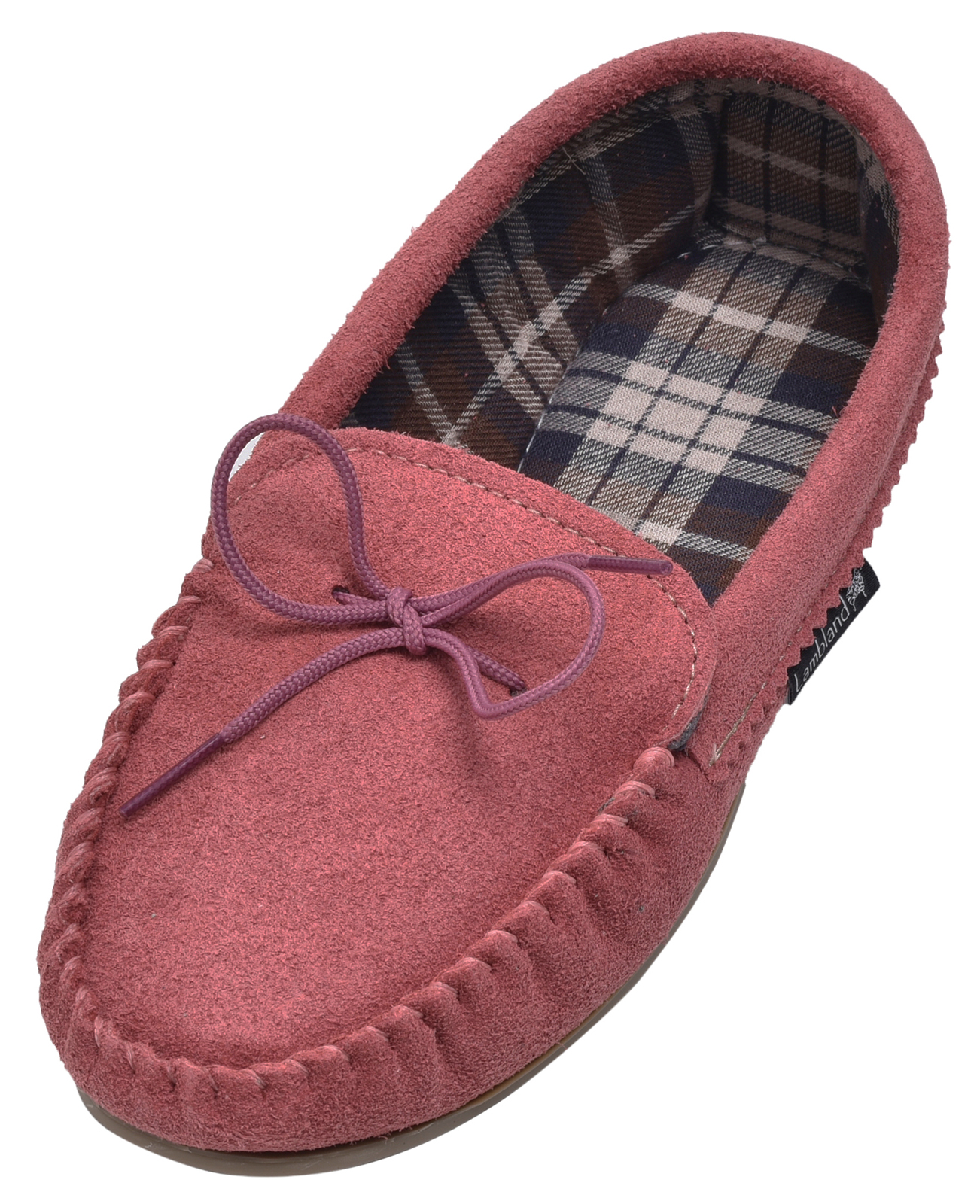 Lambland Ladies Genuine Suede Moccasin Slippers Fabric Lined Hard Sole - Pink