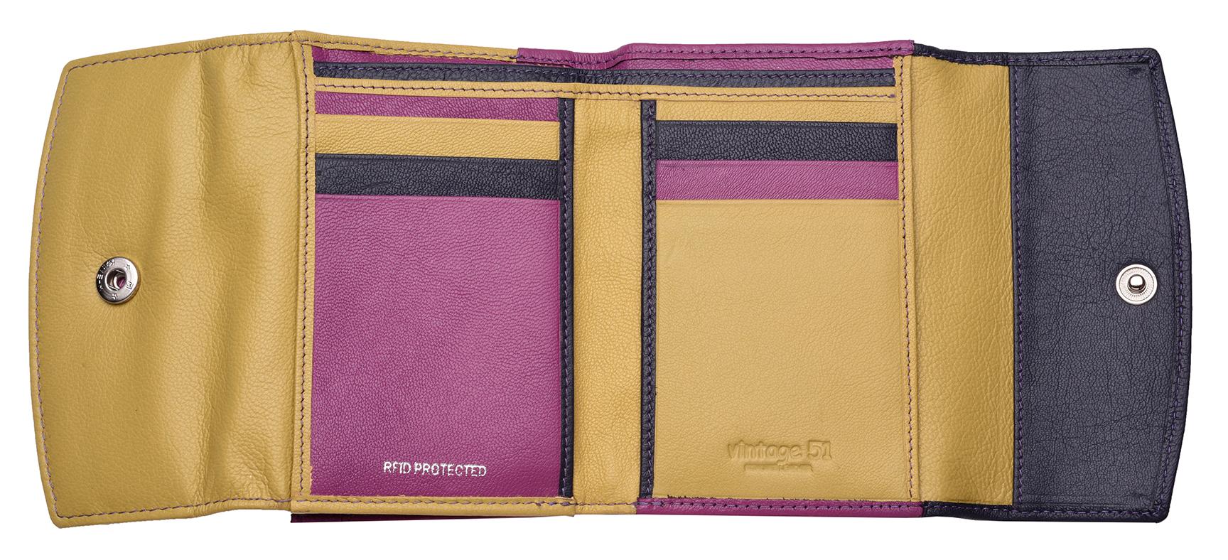 Femme-Multi-Couleur-RFID-Bloquant-en-cuir-veritable-sac-a-main-bleu-violet-noir miniature 3