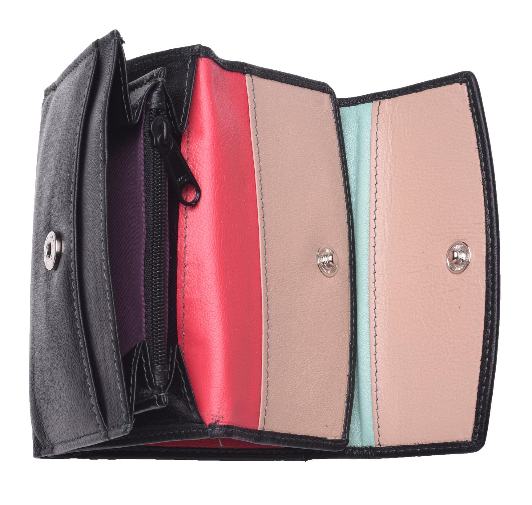 Femme-Multi-Couleur-RFID-Bloquant-en-cuir-veritable-sac-a-main-bleu-violet-noir miniature 16