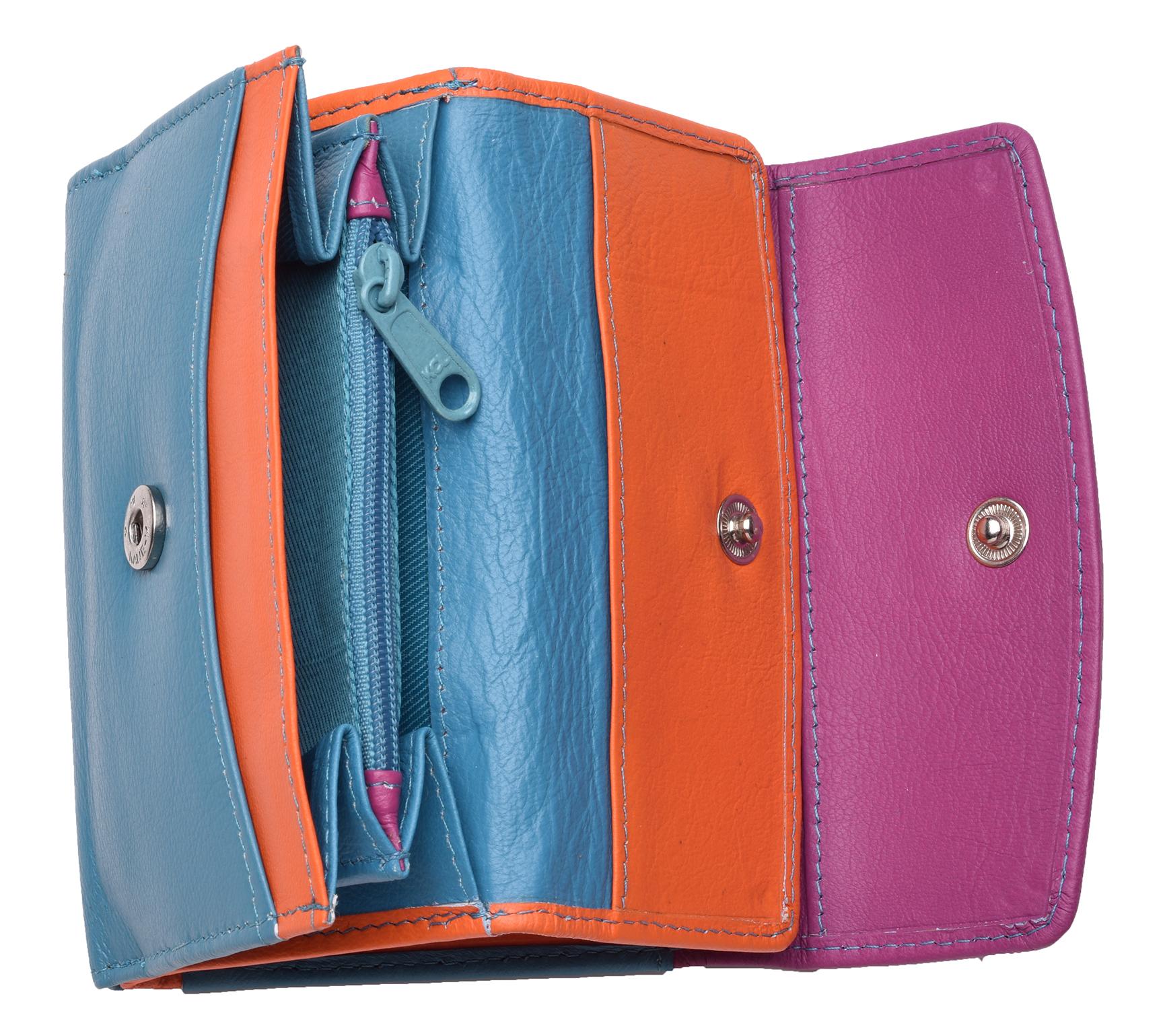 Femme-Multi-Couleur-RFID-Bloquant-en-cuir-veritable-sac-a-main-bleu-violet-noir miniature 7