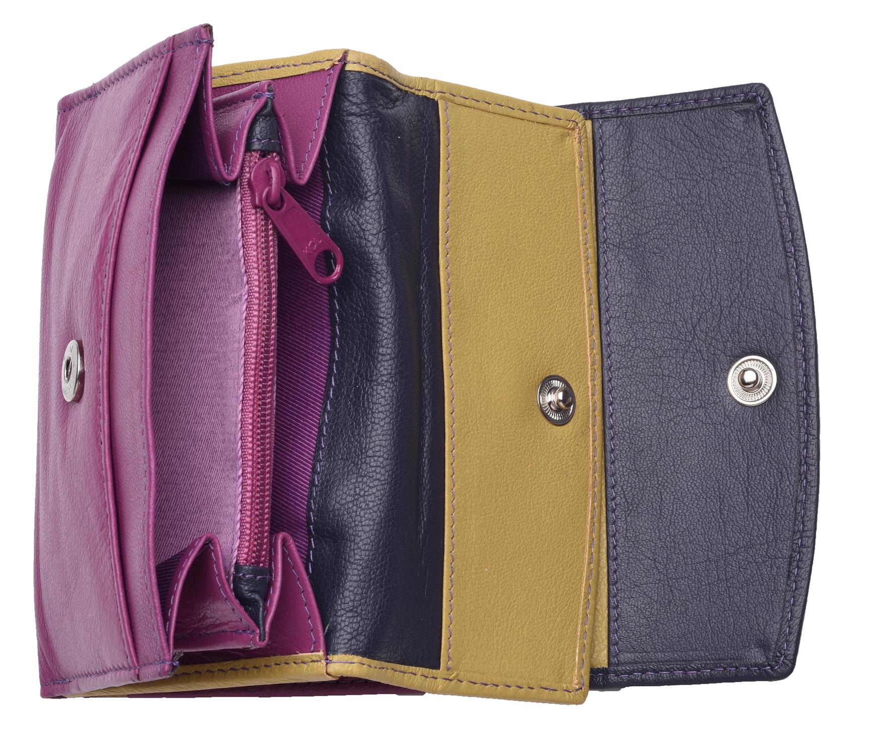 Femme-Multi-Couleur-RFID-Bloquant-en-cuir-veritable-sac-a-main-bleu-violet-noir miniature 4