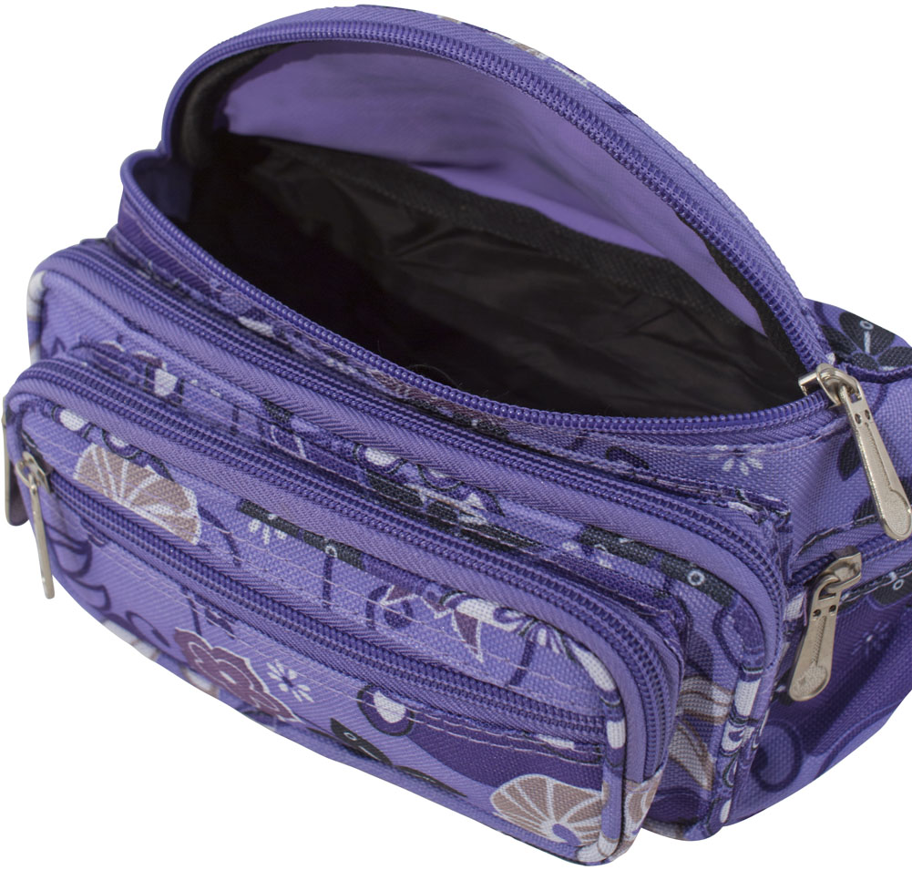 Canvas Fashion Waist Bag Bumbag with Multi Colour Floral Pattern /& Zippers