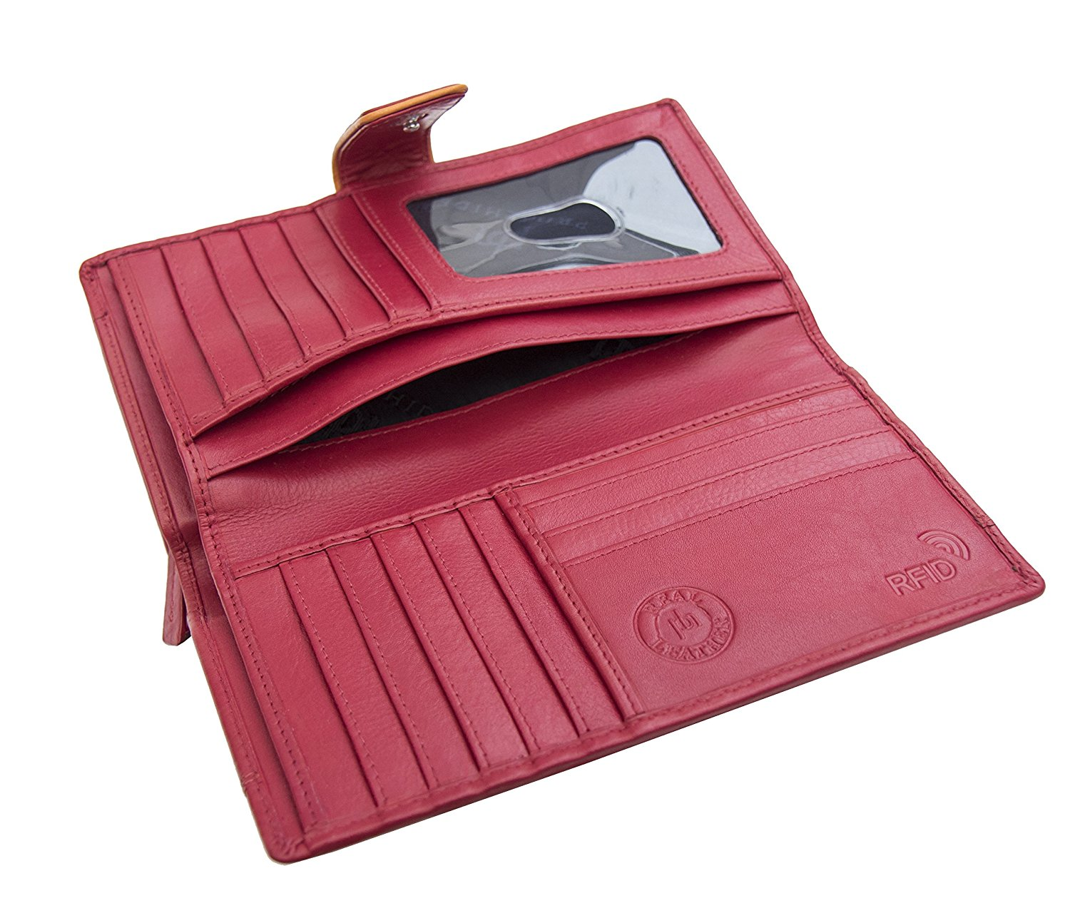 Femmes-Extra-Large-en-Cuir-Veritable-RFID-Bloquant-Organisateur-Clutch-Wallet-purse miniature 22