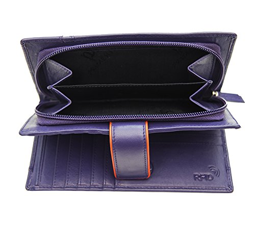 Femmes-Extra-Large-en-Cuir-Veritable-RFID-Bloquant-Organisateur-Clutch-Wallet-purse miniature 12