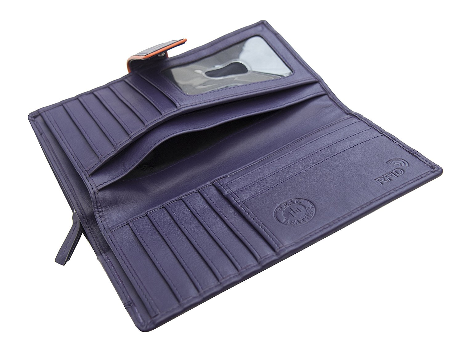 Femmes-Extra-Large-en-Cuir-Veritable-RFID-Bloquant-Organisateur-Clutch-Wallet-purse miniature 10
