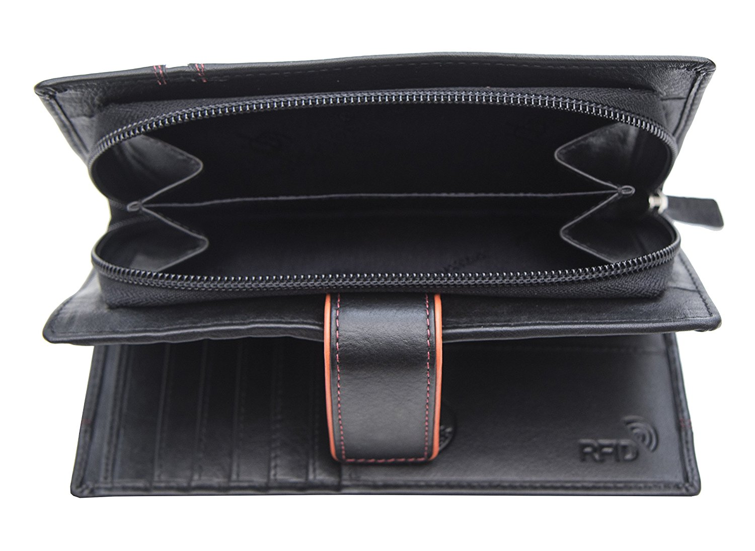 Femmes-Extra-Large-en-Cuir-Veritable-RFID-Bloquant-Organisateur-Clutch-Wallet-purse miniature 6