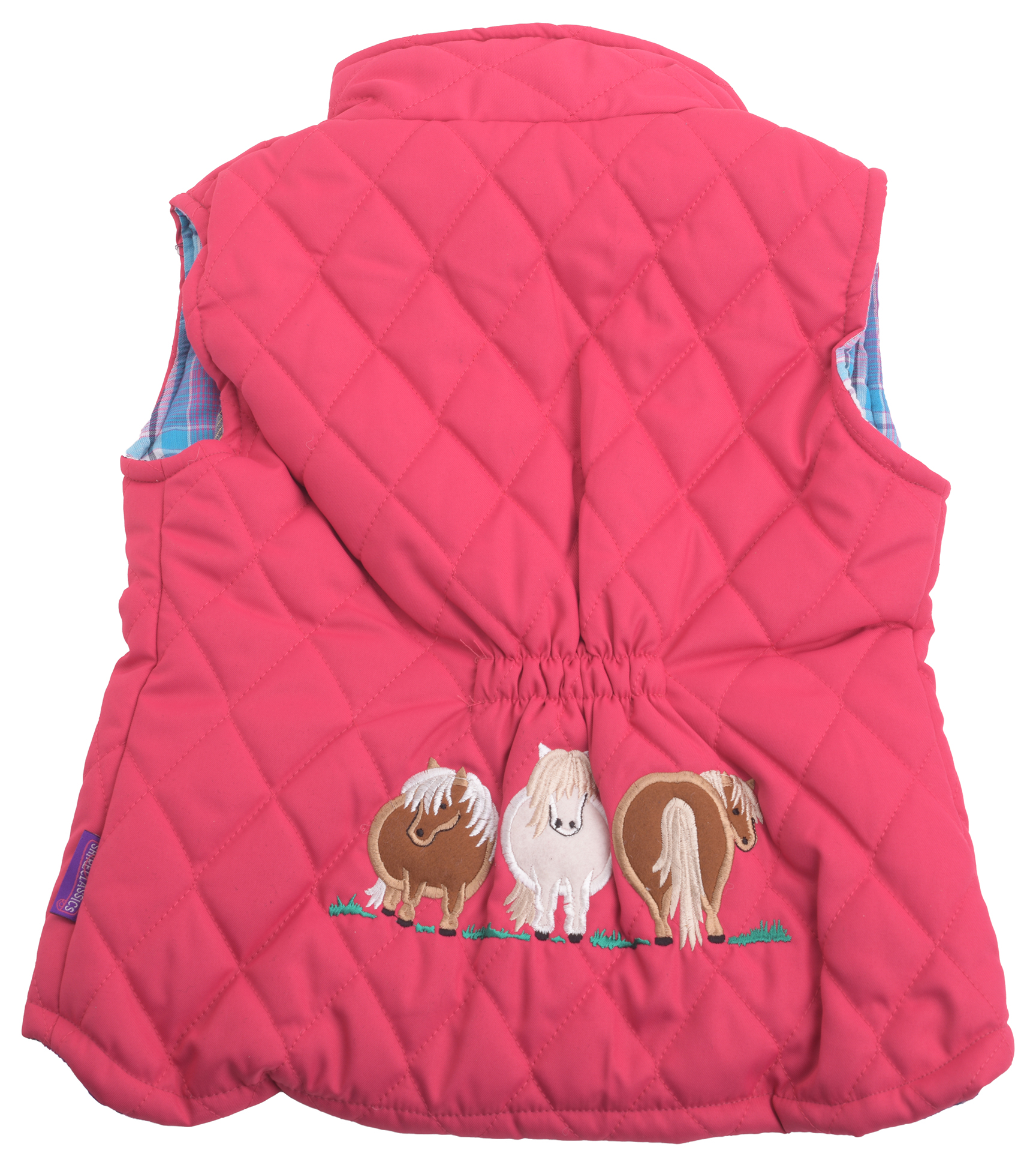 Girl/'s Childrens Childs Navy Pink Embroidered Pony Gilet Body Warmer Kids Blue