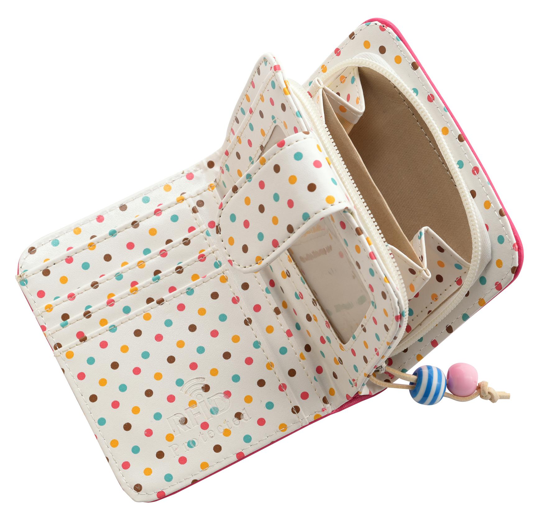 Mesdames-RFID-Bloquant-Petites-En-Faux-Cuir-Polka-Dot-Sac-zippee miniature 6