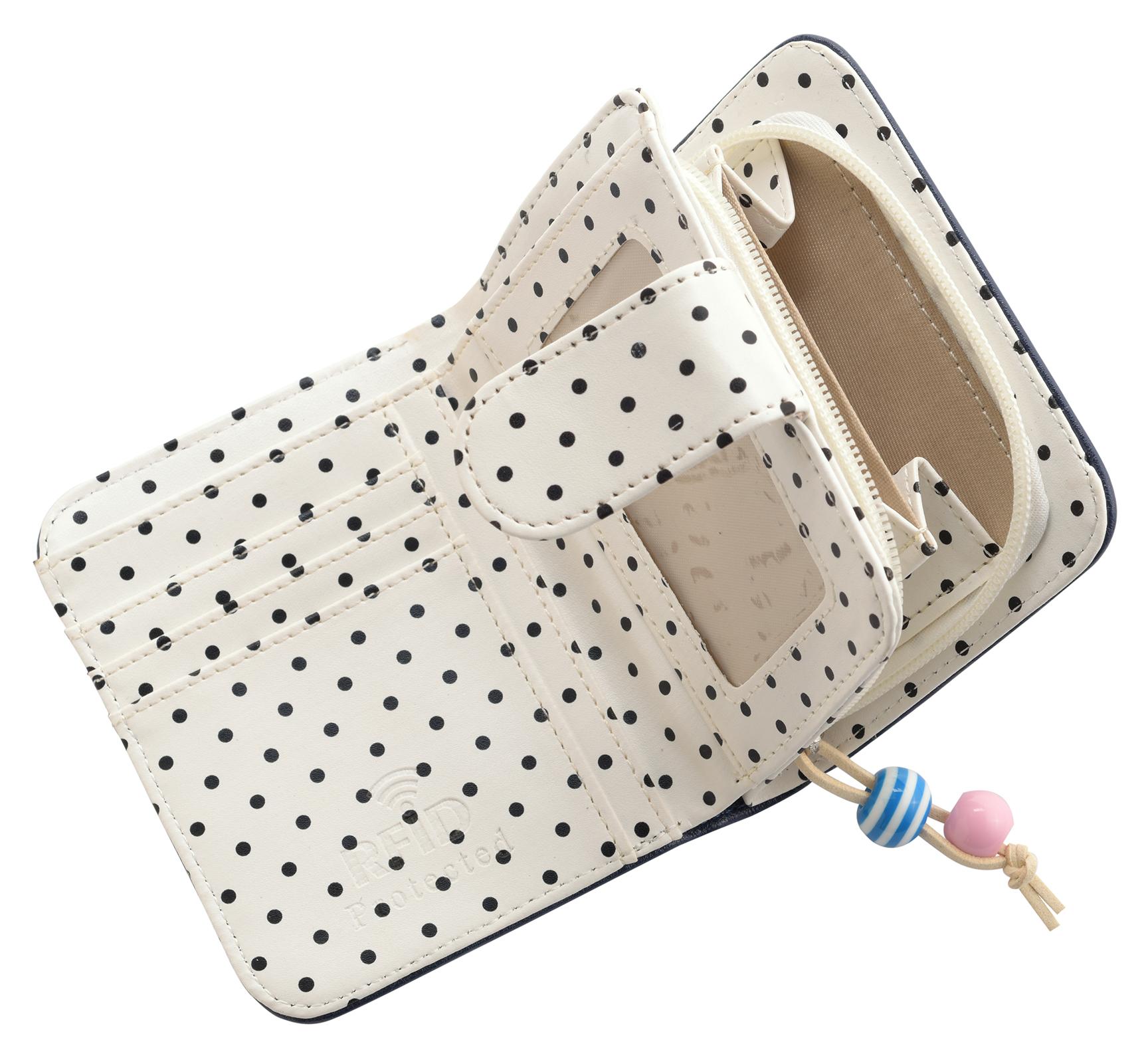 Mesdames-RFID-Bloquant-Petites-En-Faux-Cuir-Polka-Dot-Sac-zippee miniature 11