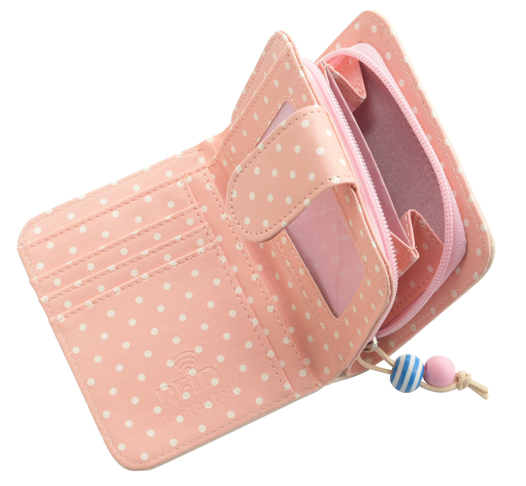 Mesdames-RFID-Bloquant-Petites-En-Faux-Cuir-Polka-Dot-Sac-zippee miniature 9