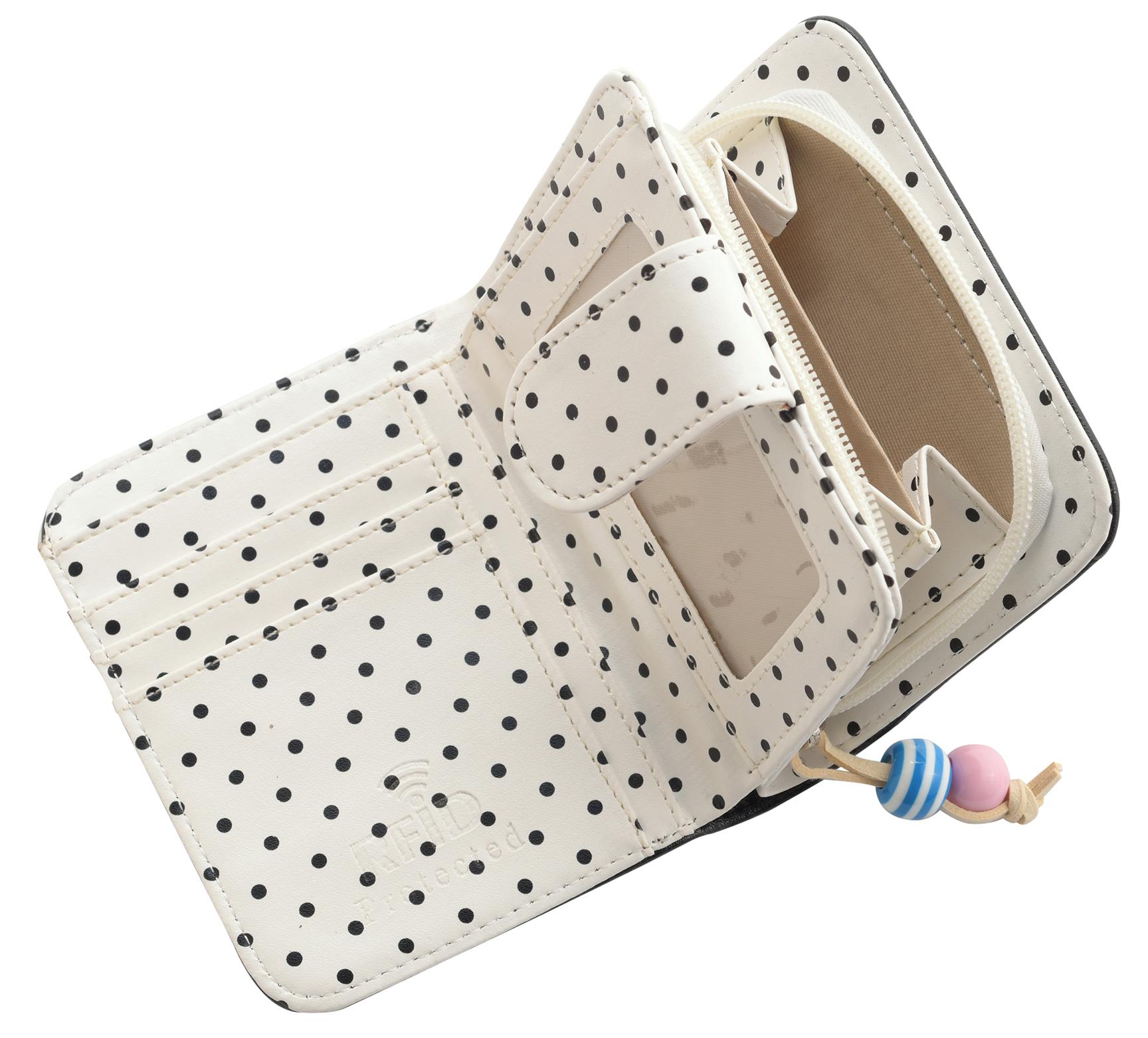 Mesdames-RFID-Bloquant-Petites-En-Faux-Cuir-Polka-Dot-Sac-zippee miniature 3