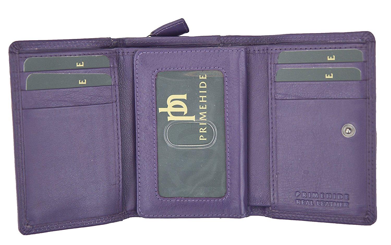 Femmes-Super-Doux-Cuir-Veritable-Tri-Fold-purse-coin-Section-Violet-Red-Plum miniature 11
