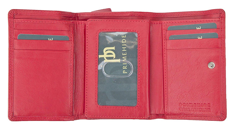 Femmes-Super-Doux-Cuir-Veritable-Tri-Fold-purse-coin-Section-Violet-Red-Plum miniature 19