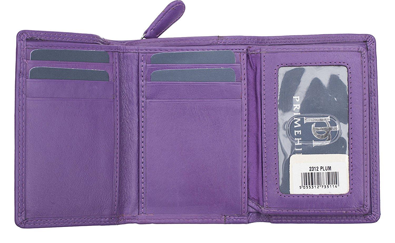 Femmes-Super-Doux-Cuir-Veritable-Tri-Fold-purse-coin-Section-Violet-Red-Plum miniature 24