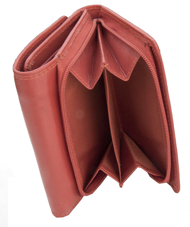 Femmes-Super-Doux-Cuir-Veritable-Tri-Fold-purse-coin-Section-Violet-Red-Plum miniature 29
