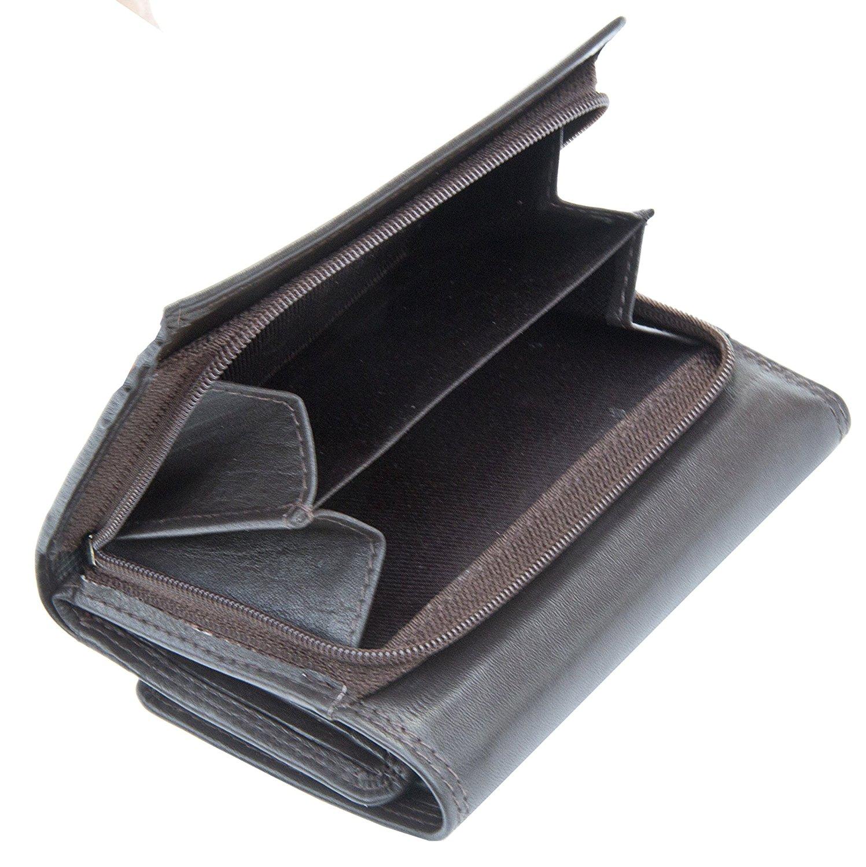 Femmes-Super-Doux-Cuir-Veritable-Tri-Fold-purse-coin-Section-Violet-Red-Plum miniature 9