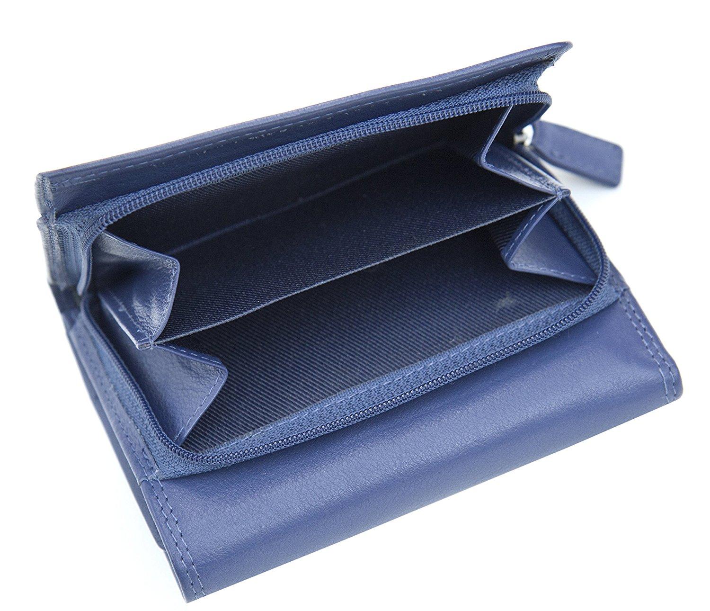 Femmes-Super-Doux-Cuir-Veritable-Tri-Fold-purse-coin-Section-Violet-Red-Plum miniature 17