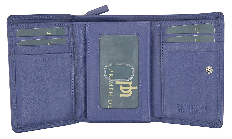 Femmes-Super-Doux-Cuir-Veritable-Tri-Fold-purse-coin-Section-Violet-Red-Plum miniature 15
