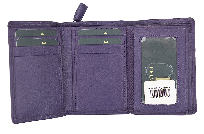 Femmes-Super-Doux-Cuir-Veritable-Tri-Fold-purse-coin-Section-Violet-Red-Plum miniature 12