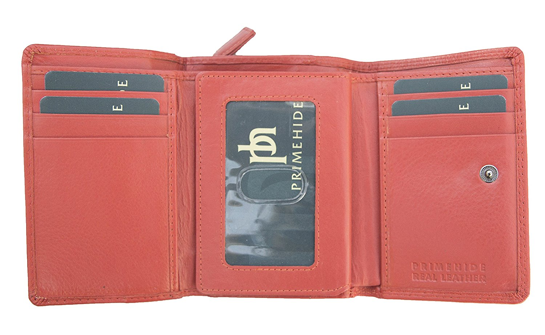 Femmes-Super-Doux-Cuir-Veritable-Tri-Fold-purse-coin-Section-Violet-Red-Plum miniature 27
