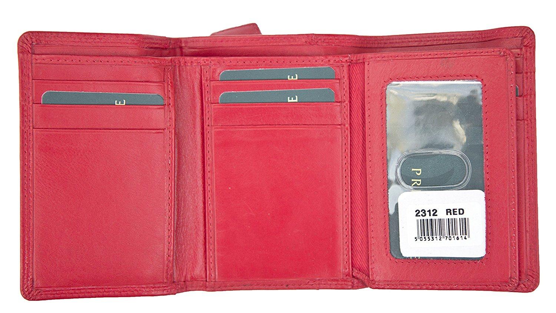 Femmes-Super-Doux-Cuir-Veritable-Tri-Fold-purse-coin-Section-Violet-Red-Plum miniature 20