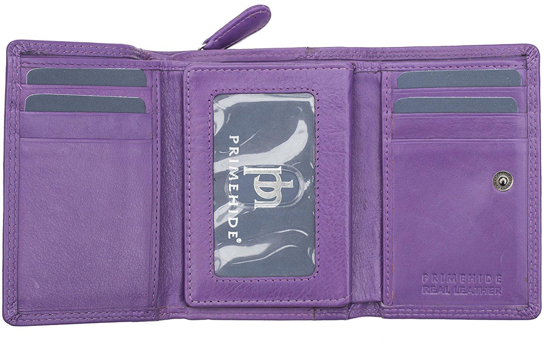 Femmes-Super-Doux-Cuir-Veritable-Tri-Fold-purse-coin-Section-Violet-Red-Plum miniature 23