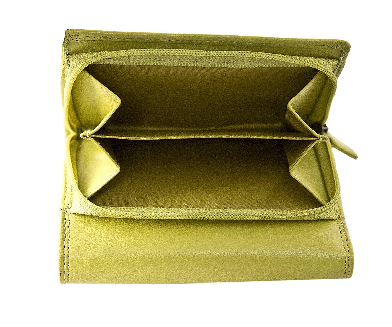 Femmes-Super-Doux-Cuir-Veritable-Tri-Fold-purse-coin-Section-Violet-Red-Plum miniature 33