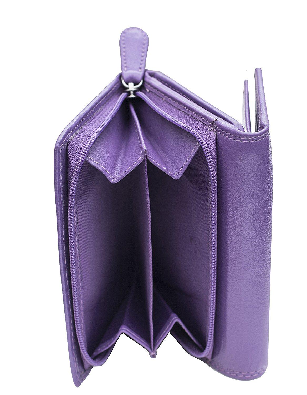 Femmes-Super-Doux-Cuir-Veritable-Tri-Fold-purse-coin-Section-Violet-Red-Plum miniature 25