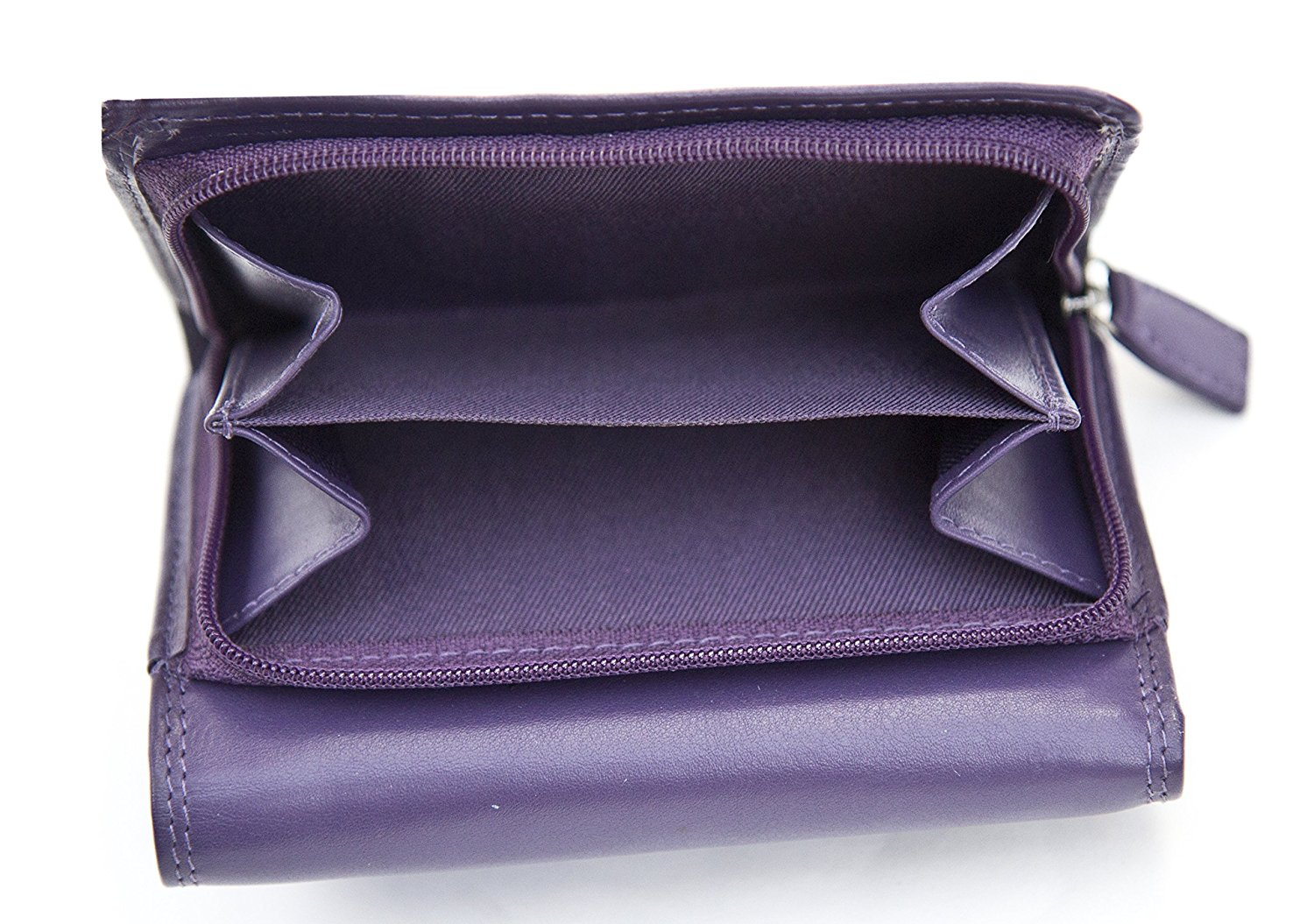 Ladies-Super-Soft-Genuine-Leather-Tri-Fold-Purse-Coin-Section-Purple-Red-Plum thumbnail 13