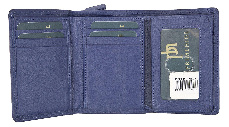 Femmes-Super-Doux-Cuir-Veritable-Tri-Fold-purse-coin-Section-Violet-Red-Plum miniature 16