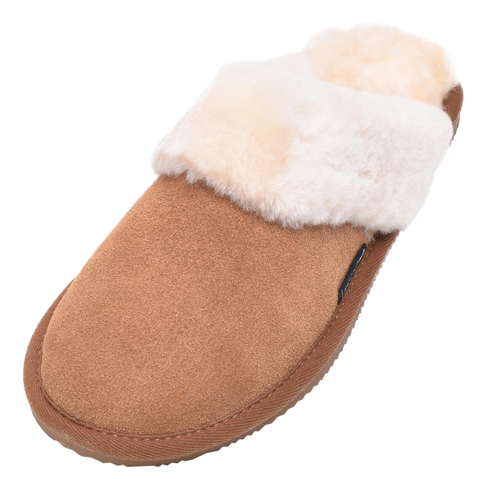 Lambland Ladies Full Sheepskin Mule Slippers with Sheepskin Cuff and EVA Sole