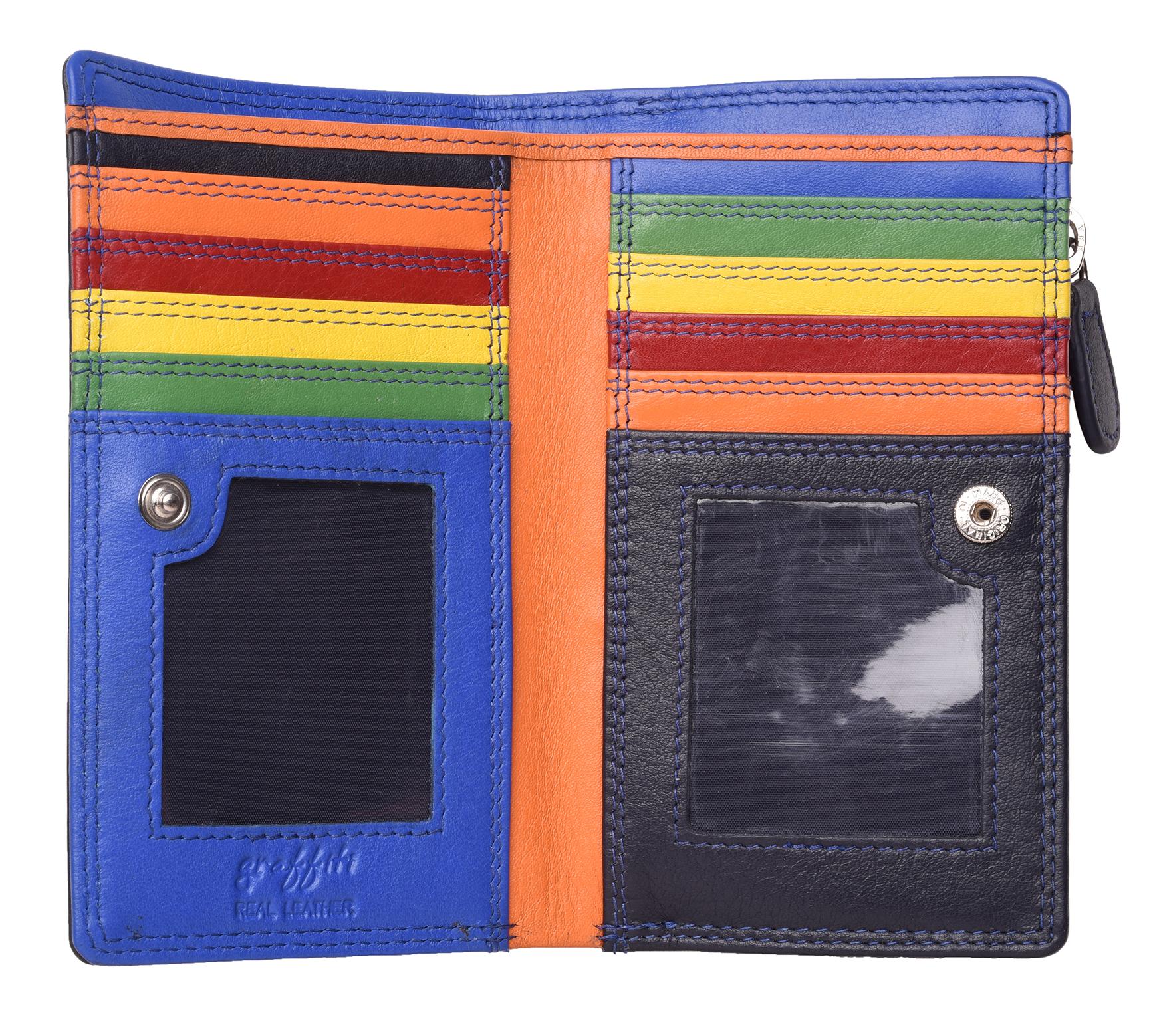 Femme-Veritable-Multi-Couleur-RFID-Blocage-De-Haute-Qualite-Sac-a-Main-Portefeuille miniature 15