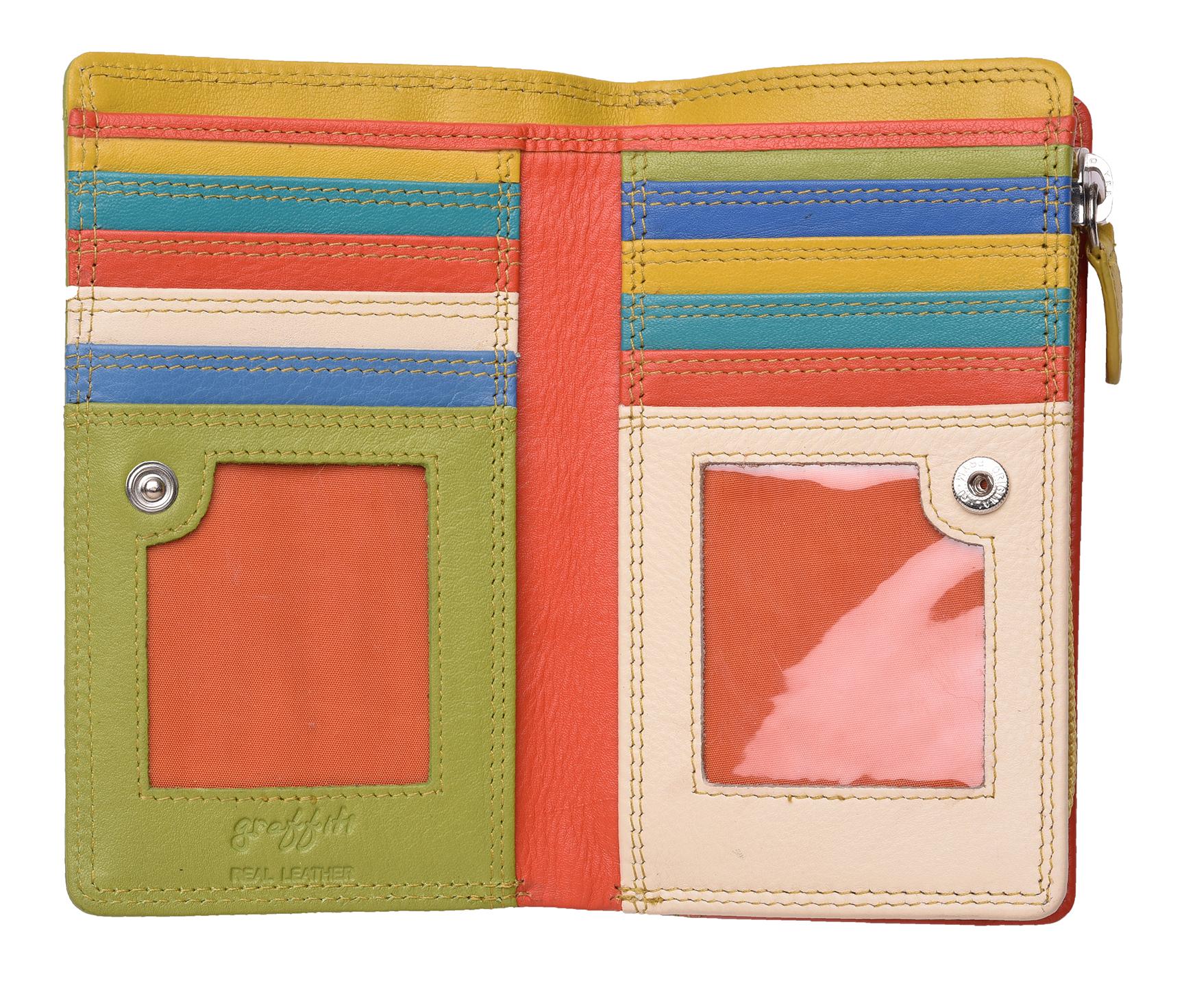 Femme-Veritable-Multi-Couleur-RFID-Blocage-De-Haute-Qualite-Sac-a-Main-Portefeuille miniature 18