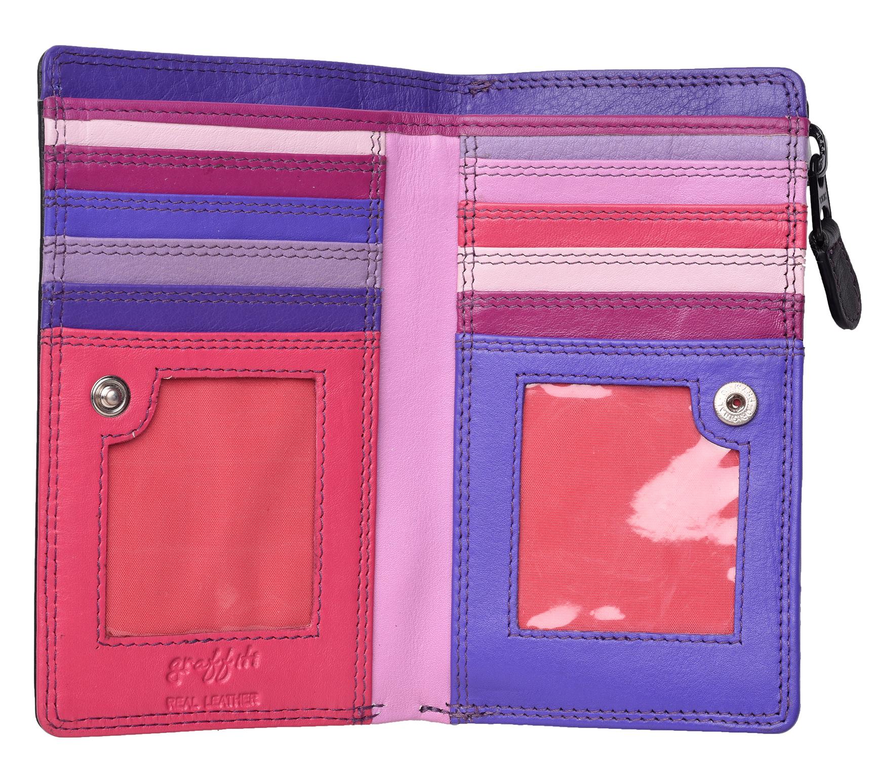 Femme-Veritable-Multi-Couleur-RFID-Blocage-De-Haute-Qualite-Sac-a-Main-Portefeuille miniature 27